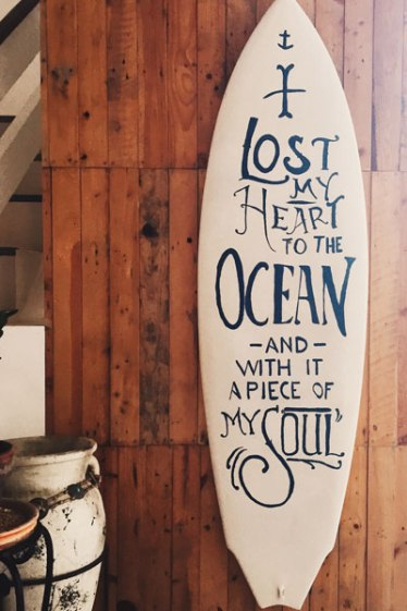 surfboard with quote