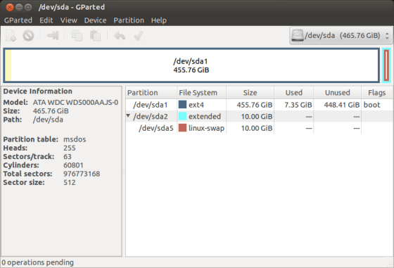 ubuntu manual partition table install 12.04 gparted