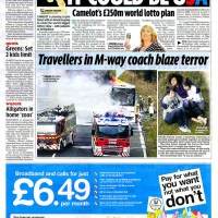 Coach fire on the M1 motorway - Daily Mirror - February 2009