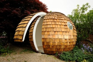 The archipod in position, where it can be use as anything from a summer house to garden office