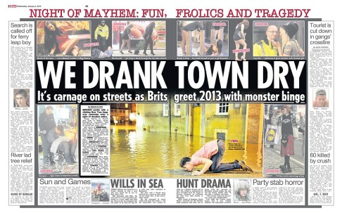 A reveller drinks from the river Ouse, York, featured in the Sun newspaper