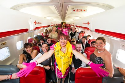 Paul on the Jet2 plane with his friends to Lanzarote