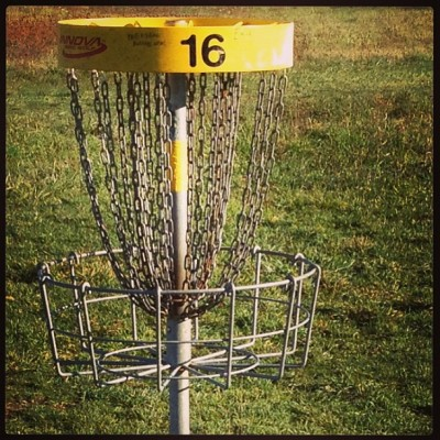 Number sixteen basket at Air Zoo Disc Golf Course.