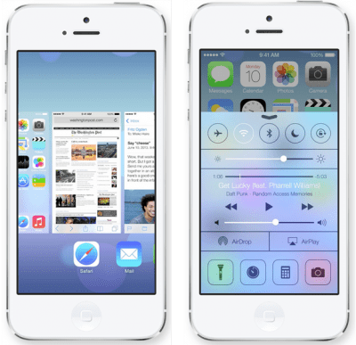 Screen shots of Apple's iOS 7.