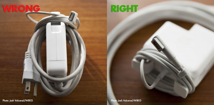 Two photos depicting the wrong and right ways to wrap a power cord.