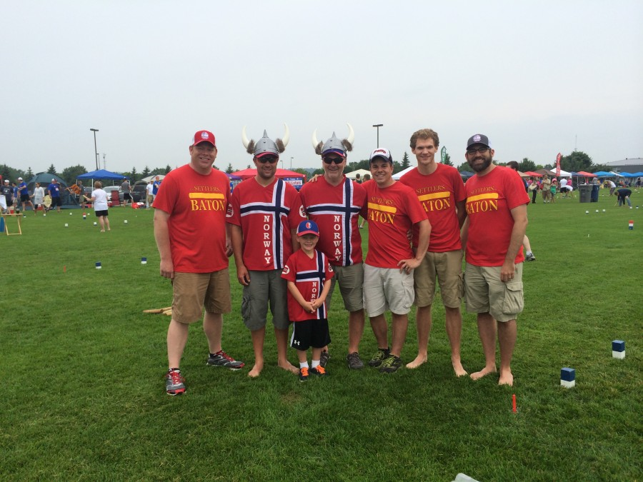 A photo of The Settlers of Baton with Team Norway at the 2014 U.S. National Kubb Championship.