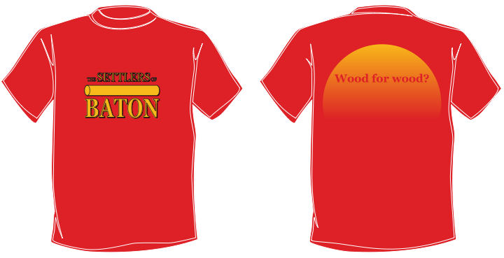 A mockup of The Settlers of Baton t-shirts.