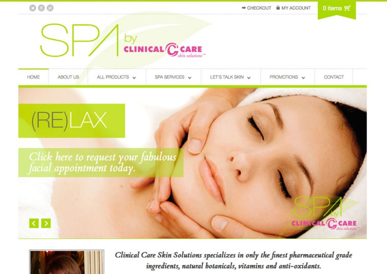 Custom Web Design for Clinical Care Skin Solutions Spa by Jones House Creative