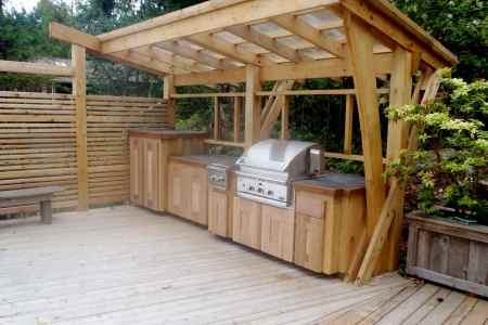 cedar bbq cover outdoor kitchen