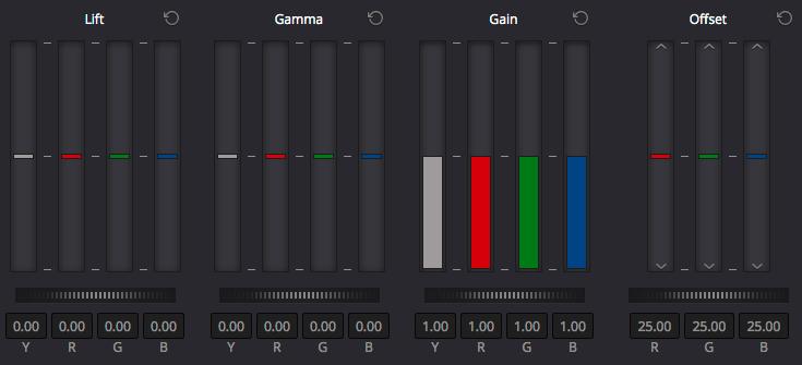 Davinci Resolve colour grading interface