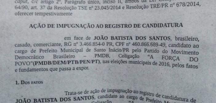 Ministério Público entra com ação de impugnação contra ex-prefeito de Santo Inácio, João Venceslau