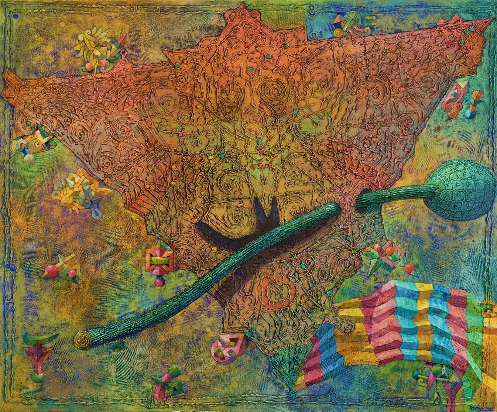 Josef Achrer Čínský drak Zdeňka Sklenáře 142 cm x116 cm