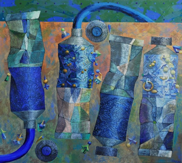 Josef Achrer 4 modré tuby 133 cm x 117 cm