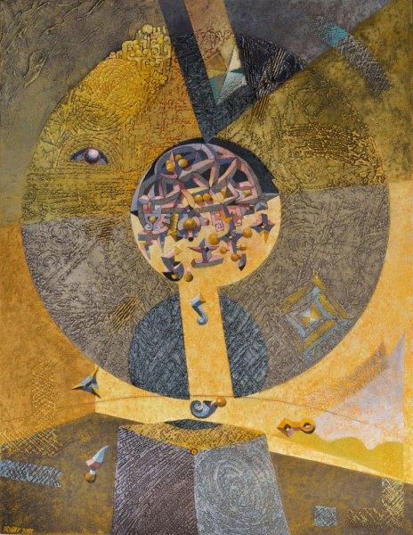 Josef Achrer Neúplné zatmění 102 cm x 132 cm
