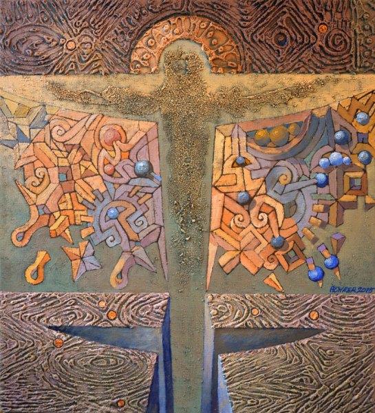 Josef Achrer Biblická scéna 52cm x 57