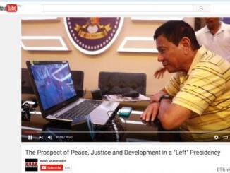 Davao City Mayor Rodrigo Duterte in online conversation with Communist Party of the Philippines founder Jose Ma. Sison, 25 April 2016. YOUTUBE SCREENGRAB