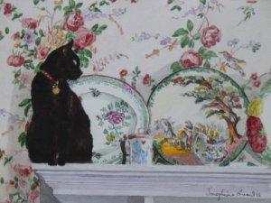"Finzi on the Mantel   watercolour  7"" x 9"""