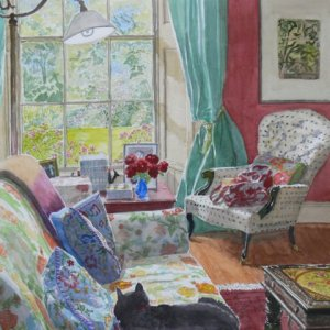 """Midsummer in the Study, Bunclody  watercolour  16"""" x 16"""""""