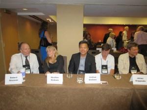 Robert Gleason, my cousin Heather, me, James Grippando, and Andrew Gross