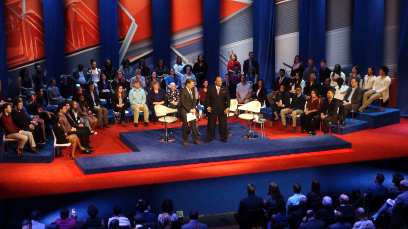 """Roland Martin, host of TVOne's """"NewsOne Now"""" co-moderated a """"Democratic Presidential Town Hall"""" at Ohio State University Sunday night with CNN's Jake Tapper. (Credit: NewsOne)"""