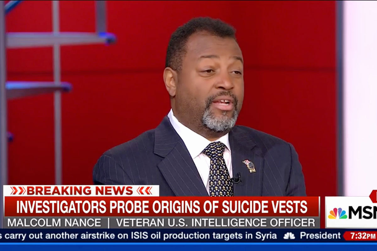 """Malcolm Nance, counterterrorism expert, on MSNBC. """"I keep Malcolm's book at my bedside table,"""" the network's Rachel Maddow says in a blurb for his latest volume."""