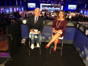 Jorge Ramos and Maria Salinas at Democratic presidential debate on March 9. (Credit: Univision)