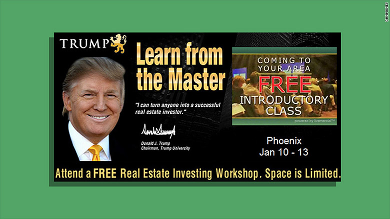 Trump University, which promised to teach students Donald Trump's investing techniques to get rich on real estate, is now defunct, but civil lawsuits against it and against Trump are alive and are a campaign issue.