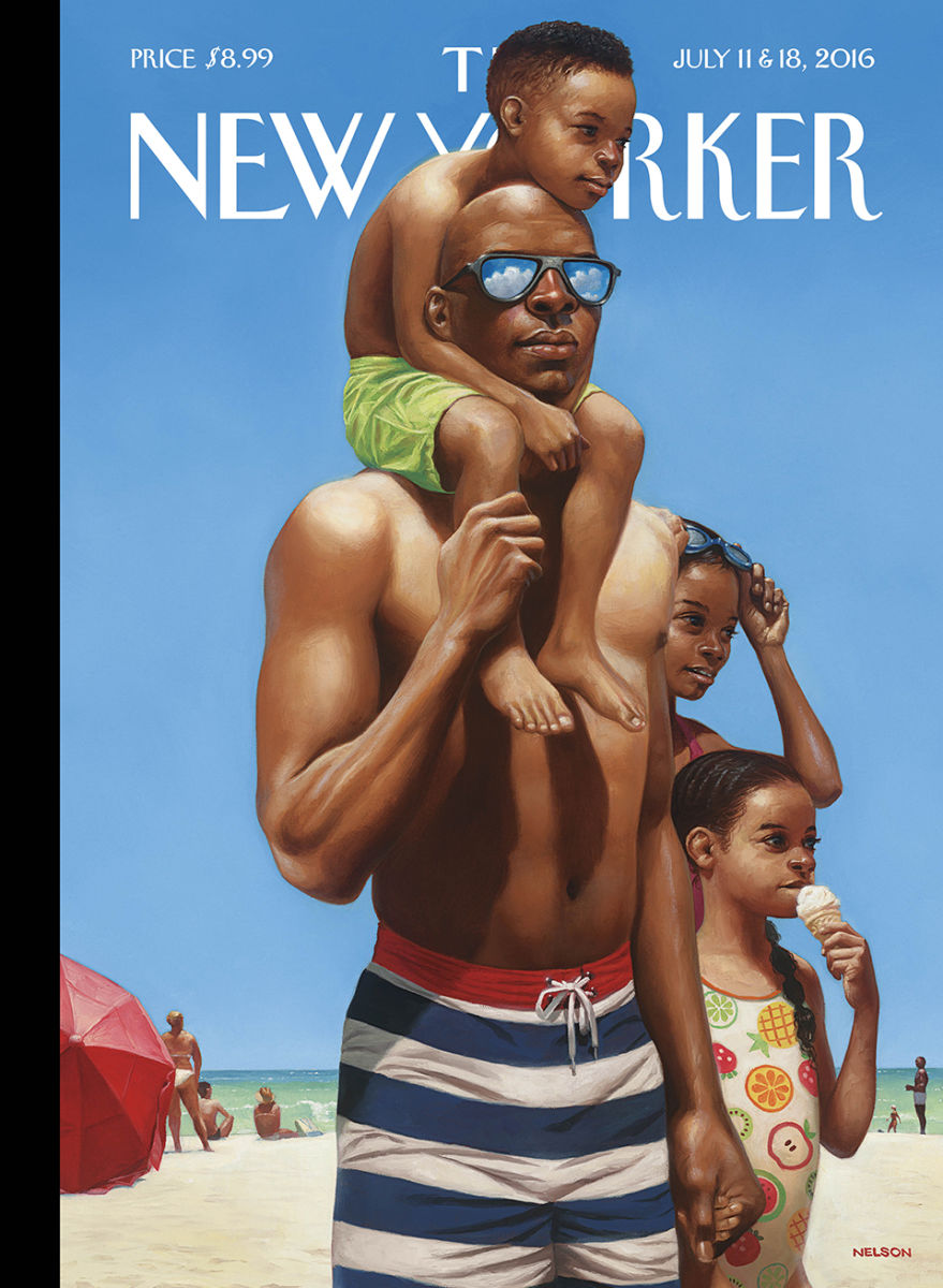 """ 'I grew up close to the shore, and I have always loved spending time at the beach,' the Los Angeles-based artist Kadir Nelson says of his cover for this week's issue,"" Françoise Mouly, art editor at the New Yorker, wrote Monday for the magazine. "" 'When I was young it meant time with my dad, and now that I'm a father myself I relish the long summer days spent with my own children.' "" Nelson was also featured on CBS-TV's ""Sunday Morning."" (video)"