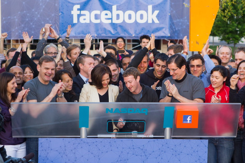 Facebook CEO and founder Mark Zuckerberg rings the NASDAQ bell at the company's initial public offering on May 18, 2012 (Credit: Facebook)