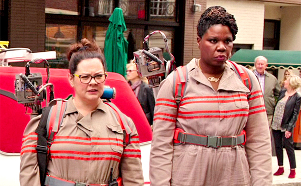 "Leslie Jones, shown at right in ""Ghostbusters,"" movie, received a barrage of abusive tweets. (Credit: Columbia Pictures)"