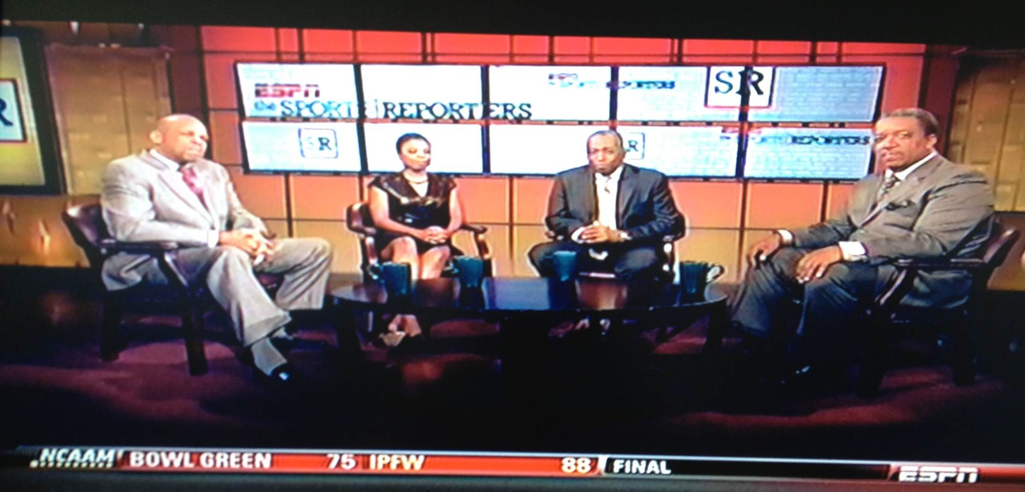 """The Sports Reporters"""" from left: William C. Rhoden; Jemele Hill (@JemeleHill); John Saunders (@JohnReporters); Bryan Burwell (@realbburwell) (Credit: Sree Sreenivasan)"