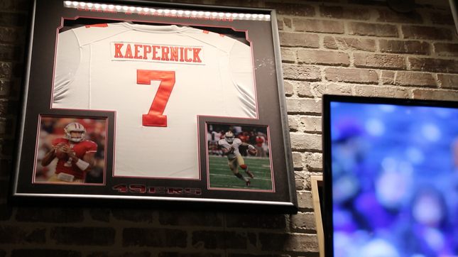 Buffalo Wild Wings on the edge of town is the lone spot Colin Kaepernick's jersey can still be found hanging in public in his Turlock, Calif., hometown. (Credit: Courtney Cronin/Bay Area News Group)
