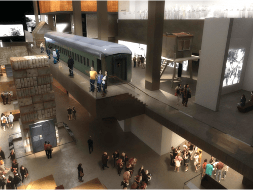 The Era of Segregation Gallery, including the segregation train car. (Credit: National Museum of African American History and Culture.)