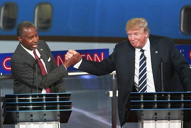 Ben Carson, left, and Donald Trump during the GOP debate at the Reagan Library in Simi Valley, Calif., on Sept. 16, 2015. (Credit: Robert Gauthier/Los Angeles Times)