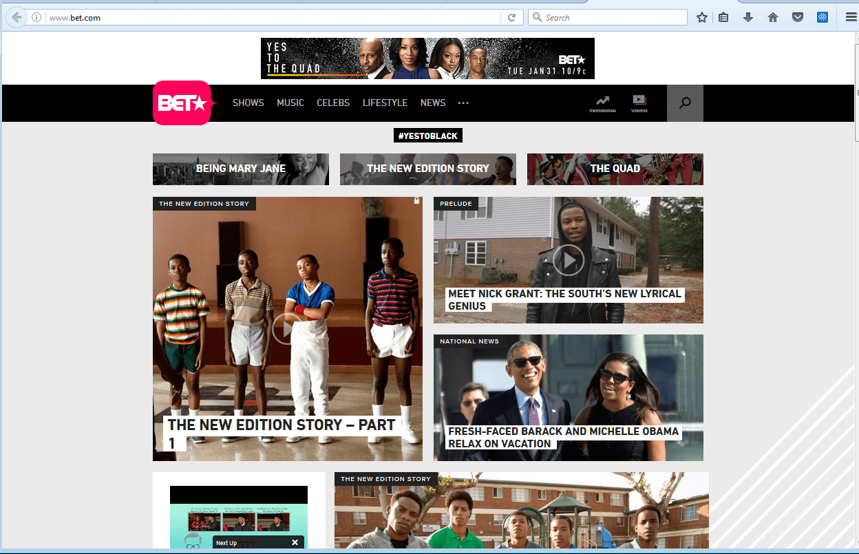 bet.com homepage on Wednesday.