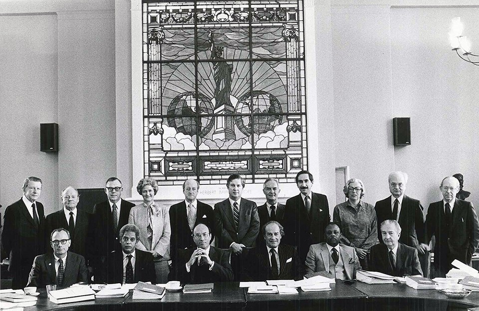 Roger Wilkins, first row, second from left, with other members of the 1981 Pulitizer Prize Board. front row, left to right: John Cowles Jr., Wilkins, Michael I. Sovern, Joseph Pulitzer Jr. (III), William Raspberry, Lee Hills; back row, left to right: Richard T. Baker, Euegene Patterson, Richard H. Leonard, Charlotte Saikowski, Osborn Elliott, John Hughes, Howard H. Hays, Warren H. Phillips, Hanna H. Gray, Clayton Kirkpatrick, Thomas Winship. (Credit: Pulitzer Board)