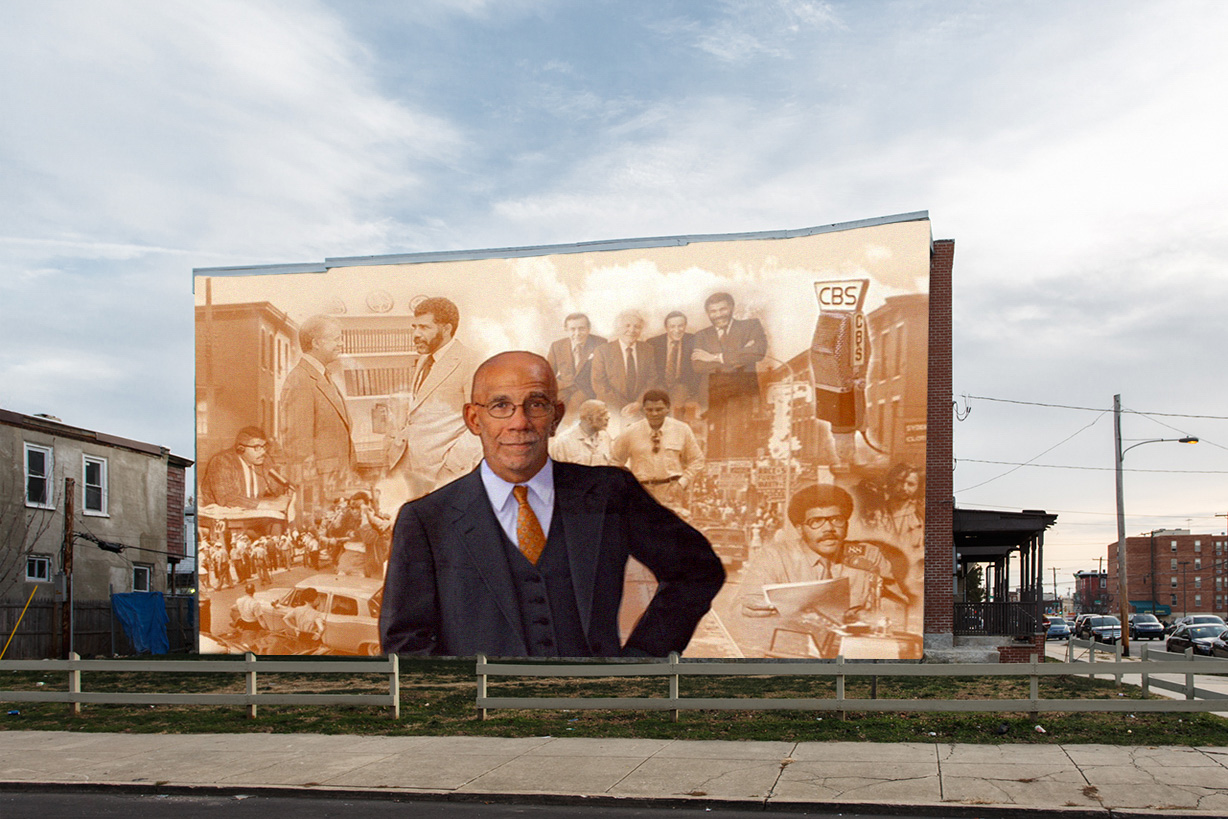 """Highly-esteemed journalist Ed Bradley, most notable for his 26 years as a correspondent on CBS News' 60 Minutes, was a Philadelphia native raised in the West Philadelphia neighborhood that will be the site of a new mural honoring his legacy,"" Mural Arts of Philadelphia writes. ""Bradley, who passed away in 2006, was the first black television correspondent to cover the White House and the recipient of dozens of prestigious journalism awards . . ."" The artist is Ernel Martinez."