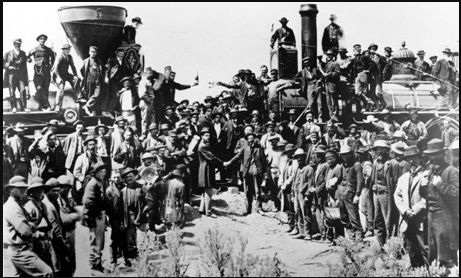 """ that legendary picture of the railroads and the Golden Spike uniting America by rail."""