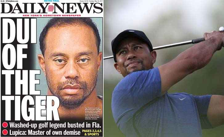 The Daily News showed Tiger Woods' mugshot on its cover.