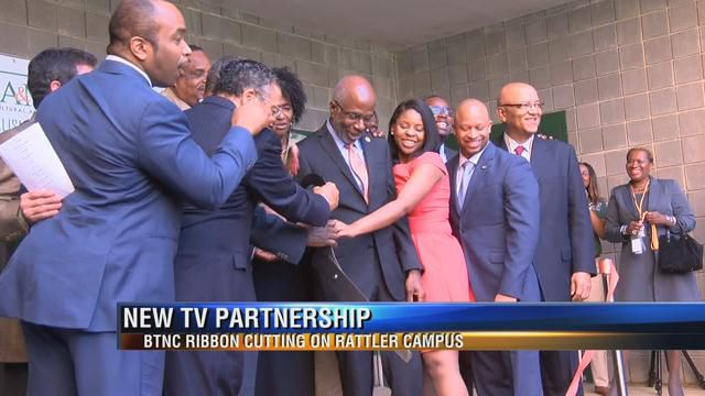 In February, a ribbon cutting was intended to celebrate the Black Television News Channel's location is inside the School of Journalism and Graphic Communication at Florida A&M University. (Credit: WTXL-TV)