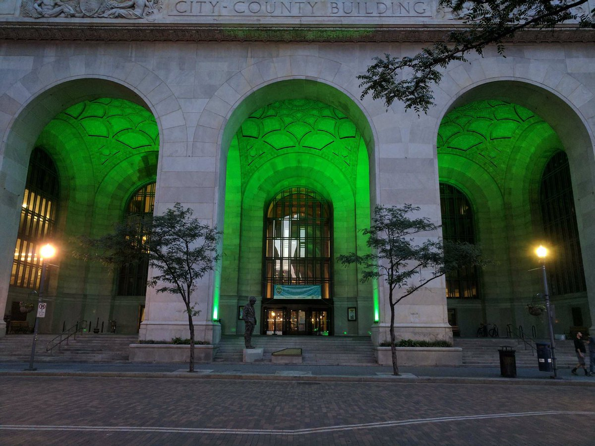 Pittsburgh lit up government buildings green Friday night in support of Mayor Bill Peduto's executive order honoring the Paris Agreement on climate change. (Credit: City of Pittsburgh)