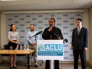 Shay Horse discusses the ACLU lawsuit Wednesday at the National Press Club. (Credit: Zoe Tillman/Twitter)