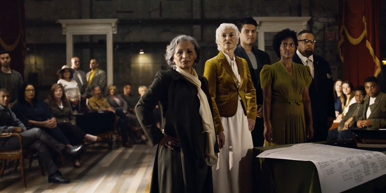 "For its Fourth of July campaign, Ancestry.com recreated John Trumbull's iconic ""Declaration of Independence"" painting with a variety of Americans from different ethnic backgrounds. (Credit: adweek.com)"