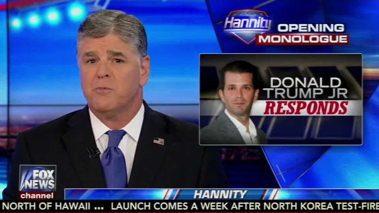"Donald Trump Jr. defends himself Tuesday on Sean Hannity's Fox News Channel program, while saying he wishes he'd ""have done things a little differently."""