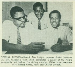 In 1967, Editor & Publisher reported on efforts by the Star-Ledger of Newark, N.J., to determine the mood of the black community just prior to the disturbances that left 26 dead and more than 700 injured. From left, Ernest Johnston Jr., Charles Dryden and Richard Prince (Credit: Star-Ledger via Editor & Publisher.)