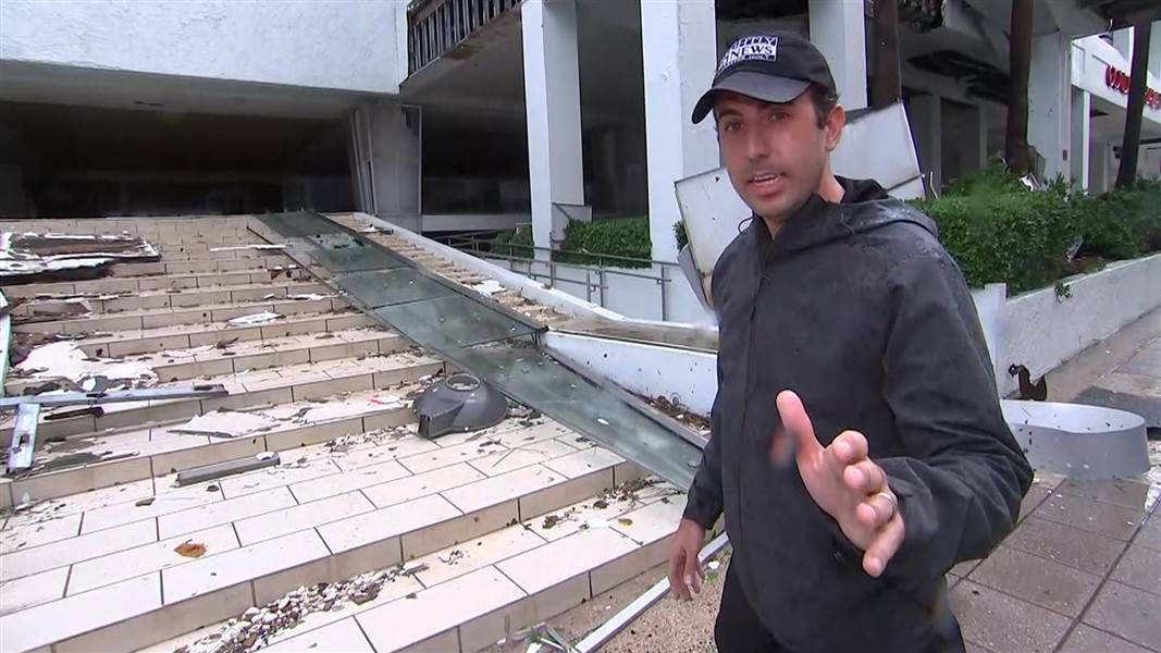 NBC News' Gabe Gutierrez tours the area surrounding the hotel where he rode out Hurricane Maria in Puerto Rico on Wednesday. (Credit: NBC News)