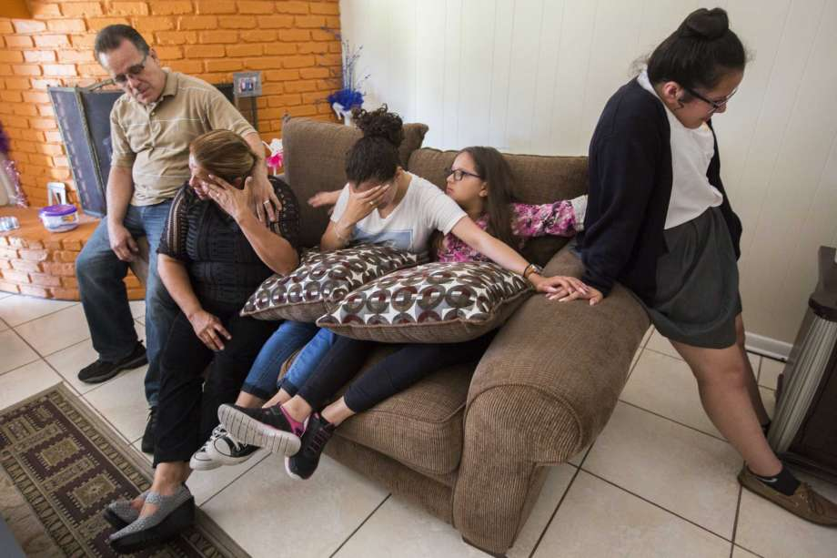Juan Rodríguez and his family : Wife Celia and daughters Karen, Kimberly and Rebecca, have built a life in Houston. That could change at month's end because Juan has been ordered to turn himself in to be deported to El Salvador (Credit: Maria DeJesus/Houston Chronicle)