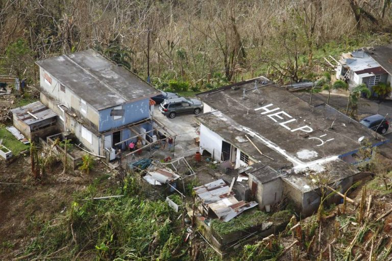 While conducting search and rescue in the mountains of Puerto Rico, a Black Hawk helicopter from the U.S. Customs and Border Protection Air and Marine Operations located this home a half mile from its peek with HELP painted it is roof.