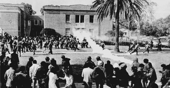 On Nov. 16, 1972, student protesters at Southern University in Baton Rouge occupied the campus' administration building. In an effort to remove the demonstrators, sheriff's deputies and the state police tossed tear gas cannisters into the building, which the occupiers allegedly threw back out of windows. Two students were killed in the ensuing melee. (Courtesy John G. Cade Library, Archives and Manuscripts, Southern University and A&M College)