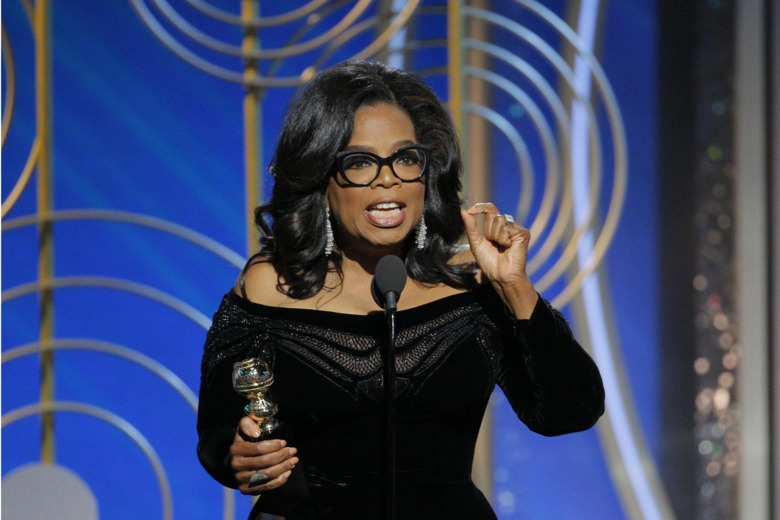 Oprah Winfrey accepts the 2018 Cecil B. DeMille Award during the 75th Annual Golden Globe Awards on Sunday in Beverly Hills, Calif. (Credit: Paul Drinkwater/NBCUniversal)